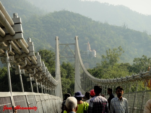 crossing Ram Jhula-Neelkanth Temple in Distance