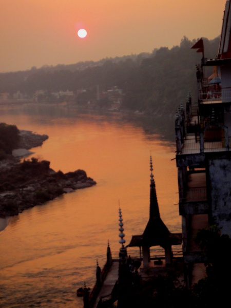 One of my favorite views towards Ram Jhula from one of my favorite restaurants..  60's Beatles Restaurant