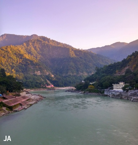 VIEW FROM LAXMAN JHULA EARLY MORNING